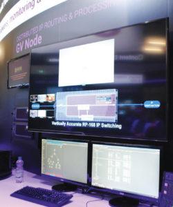 O GV Node Real-Time IP Processing e Edge Routing Platform v 1.1 incluí matriz de áudio e vídeo híbrida de 2304 x 2304, MADI embed/de-embed suportando áudio SMPTE 2022-7